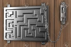 Illustration Of The Door-lock From A Steel With A Chain Stock Photo ...