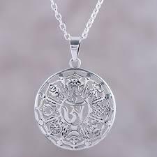 ashtamangala flower sterling silver pendant necklace fl ashtamangala