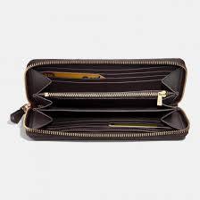 Women s Coach accordion zip wallet in signature canvas light gold khaki ...