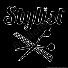 Hairstylist Quotes Beauteous Rhinestone Iron On Transfer Stylist With Shears Etsy