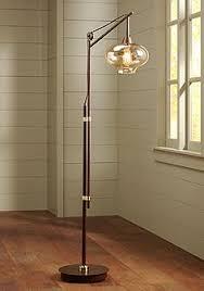 glass floor lamp. Calyx Cognac Glass Industrial Bronze Floor Lamp