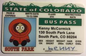 Park South Colorado Pass Bus Kenny - Novelty