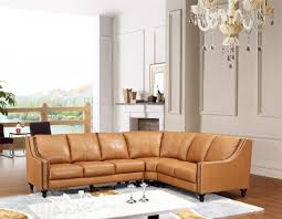 leather sectional living room furniture. Orange Leather Sectional Sofa Furniture Design Ideas For Contemporary Living Room With Rectangular White Table