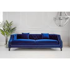 Luxury Couch Imperial Blue Velvet Sofa Luxurious Statement Sofa