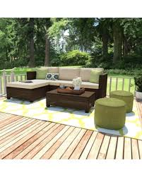 havenside home stillwater brown 5piece indoor outdoor sectional and table with reversible ottoman outdoor sectional o79 outdoor