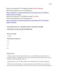 Payroll Download Payroll Accounting 2017 3rd Edition Landin Solutions Manual
