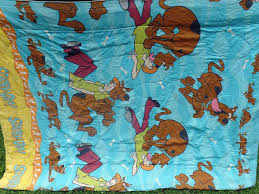 scooby doo twin comforter gy hanna barbera 1998 yellow orange blue scoobydoo