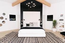 White master bedroom Large Pinterest Mydomaine Step Inside Modern Blackandwhite Master Bedroom Mydomaine