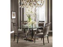 cool picture of dining room decoration using large gold metal glass crystal chandelier over dining table including round glass top dining table and