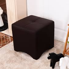 costway pu leather square cube ottoman footstool rest seating home furniture brown new 0