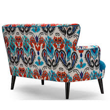 Paisley Sofa baxton studio lacey paisley ikat loveseat with blue seat 1134 by uwakikaiketsu.us