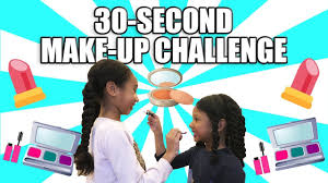 30 second makeup challenge sisters try 30 second makeup challenge on each other sean my world