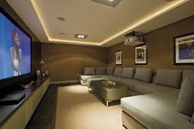 home theater step lighting. home theater design contemporary with long media cabinet upholstered ottoman step lighting