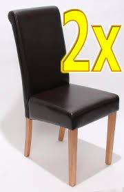 2x Esszimmerstuhl Stuhl Novara Ii Leder Schwarz Creme