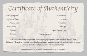 Certificate Of Authenticity Template Adorable Certificate Of Authenticity Of A Fine Art Print Certificates Of