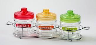 glass coffee sugar tea storage jar set with spoon