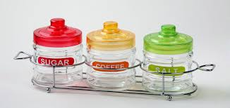 glass coffee sugar tea storage jar set with spoon