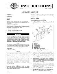 Harley Davidson Fog Lights Installation Instructions Auxiliary Light Kit Instruction Sheet Harley Manualzz Com