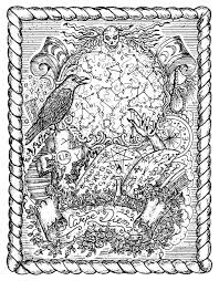 mystic drawing with magic book zodiac constellations and spiritual symbols in frame occult and