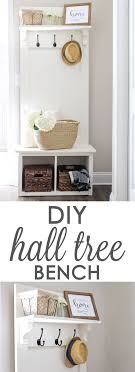 DIY Entryway hall tree bench, perfect for providing small space  organization in entryways, mudrooms