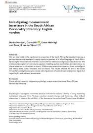 Investigating measurement invariance in the South African Personality  Inventory : English version