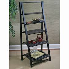 image ladder bookshelf design simple furniture. Charming Black Polished Wooden Ladder Shelf As Open Storage With Grey Wall Painted In Classic Interior Furniture Tips Image Bookshelf Design Simple F