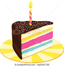 birthday cake slice drawing. Plain Drawing Slice Of Layered Birthday Cake With Candle  Csp53437789 To Drawing Y
