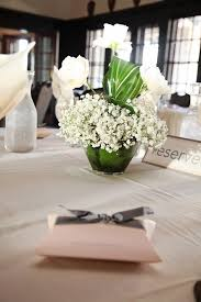 centerpiece baby s breath rose ti leaves