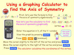 using a graphing calculator to find the axis of symmetry
