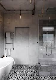 Badezimmer Badewanne Betonwand Musterfliesen Lampen Industrial