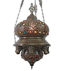br105 antique style jeweled ic hanging chandelier lantern
