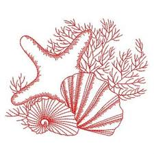 Seashell Design Redwork Seashell Starfish Embroidery Designs Machine Embroidery