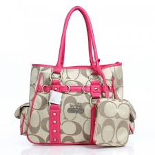 Coach Stud In Signature Medium Pink Totes DZD