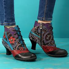 Socofy Size Chart Socofy Women Splicing Jacquard Block Ankle Boots Floral