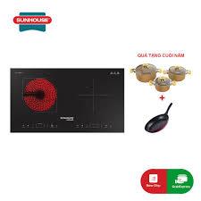 Mã ELMSCOIN01 hoàn tối đa 1 Triệu xu] Bếp đôi điện từ hồng ngoại SUNHOUSE  MAMA SHB9100