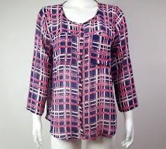 Papermoon Size Chart Papermoon Stitch Fix Blue Pink Plaid Long Sleeve Top Blouse