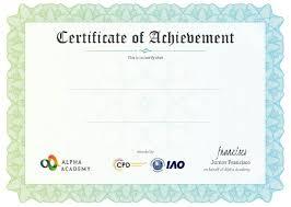 Certificate Alpha Academy