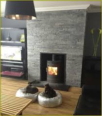 black slate tile fireplace