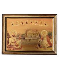 moti art ten sikh gurus in gold foil framed in gold frame