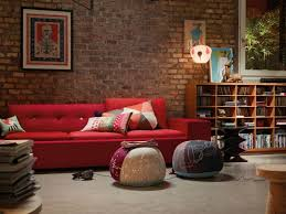 red sofa wall living