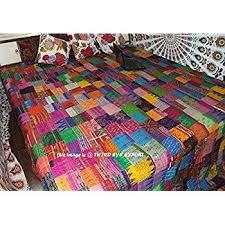 Amazon.com: COR's King Size Patola Silk Patch Work Kantha Quilt ... & COR's King Size Patola Silk Patch Work Kantha Quilt , Kantha Blanket  Bedspread, Patch Kantha Adamdwight.com