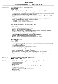Exercise Specialist Resume Samples Velvet Jobs