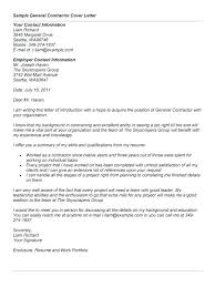 Sample General Cover Letter For Resumes General Contractor Resume General Cover Letter Sample General