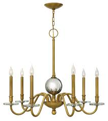 hinkley 4206hb everly 7 light 34 inch heritage brass chandelier ceiling light crystal bobeches