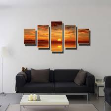 fashion wall art sea full sunrise decoration abstract large canvas painting 5 parts set no