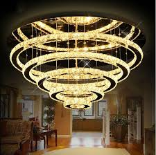luxury modern crystal chandelier 5 rings design res de cristal lobby led chandelier for ceiling crystal chandelier led with 983 29 piece on
