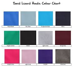 Hoodie Colour Chart Single Colour Hoodie Junior Sizes 12 Colours