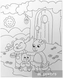 Poster 3 Leuke Beren Kleurplaat Illustratie Voor Kleine Kinderen