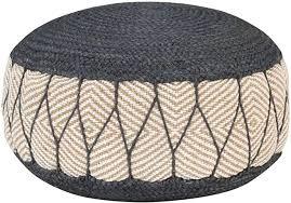 vidaXL <b>Woven</b>/<b>Knitted Pouffe Jute</b> Cotton 50x30cm Blue Foot Rest ...