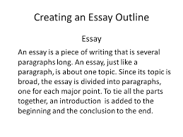 advanced english writing ca unit  writing a topic sentence  creating an essay outline essay an essay is a piece of writing that is several paragraphs